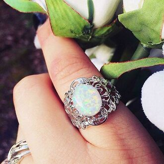 jewels cherry diva knuckle ring ring silver silver ring opal opal ring white opal ring white 925 sterling silver gypsy boho ring boho rings bohemian rings tribal ring