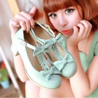 shoes lolita mint bow heels cute fashion style kawaii flats japanese