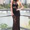 Black lace semi sheer maxi dress