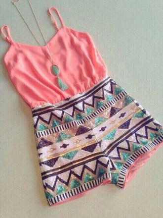 romper pink dress sequins aztec aztec dress beaded sparkle dress style summer dress