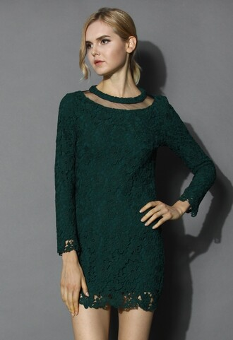 chicwish mesh neck crochet dress dark green shift dress