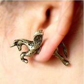jewels,unicorn,gold,vintage,horse,earrings,cute,unicorn earrings,gold earrings