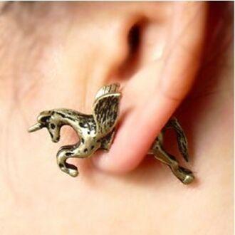 jewels unicorn gold vintage horse earring cute