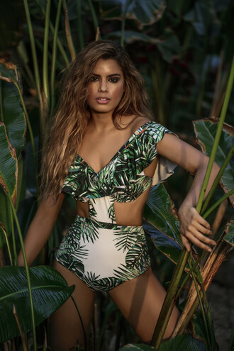 swimwear agua bendita cheeky green one piece print white bikiniluxe