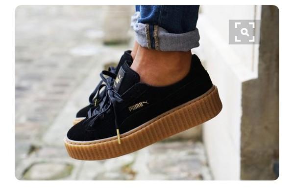 shoes puma x rihanna puma creepers black creepers