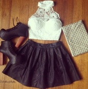 shirt,lace,top,crop tops,white,black,skirt,heels,shoes,lita,studded,purse,cluth,jeffrey campbell,white crop tops,halter top,tank top,skater skirt,black leather skirt,clutch,lace bustier,studded handbag,blouse,summer,flowers,girly