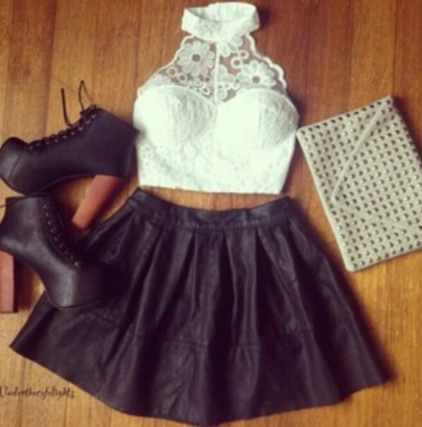 shirt lace top crop tops white black skirt heels shoes lita studded purse cluth jeffrey campbell white crop tops halter top tank top skater skirt black leather skirt clutch lace bustier studded handbag blouse summer flowers girly crop tops