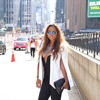 jacket blazer cape white nastygal nyfw outfit ootd streetstyle 36683