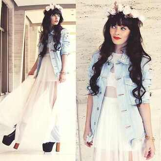 dress flower crown denim jacket heels red lips