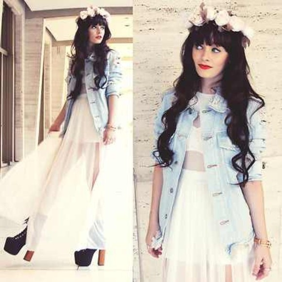 red lips dress flower crown denim jacket high heels