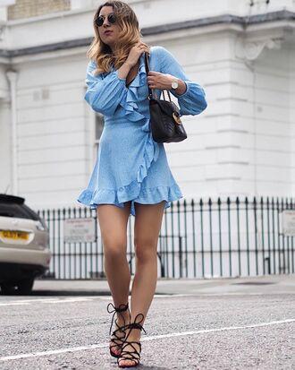 dress tumblr blue dress light blue mini dress ruffle ruffle dress wrap dress bag black bag sandals flat sandals black sandals