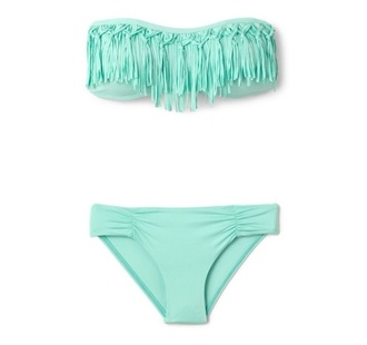 swimwear sexy fringe bikini neon swimsuit hipster hippie cute summer