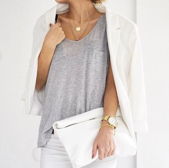 t-shirt tumblr grey t-shirt bracelets watch gold watch necklace jewels jewelry white blazer blazer bag white bag pouch