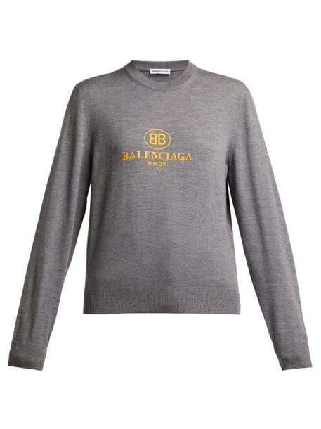 Balenciaga - Logo Embroidered Virgin Wool Sweater - Womens - Grey Multi