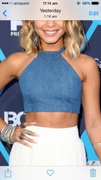vanessa hudgens denim crop tops