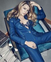 jacket,blazer,blake lively,pants,editorial,suit,bra,underwear,sequins,blue jacket,blue jumpsuit,sequin jumpsuit