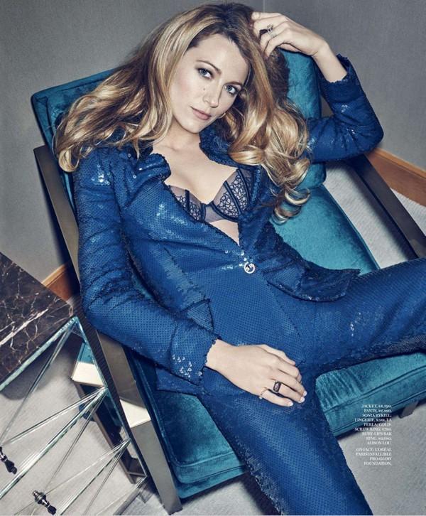 jacket blazer blake lively pants editorial suit bra underwear sequins blue jacket blue jumpsuit sequin jumpsuit