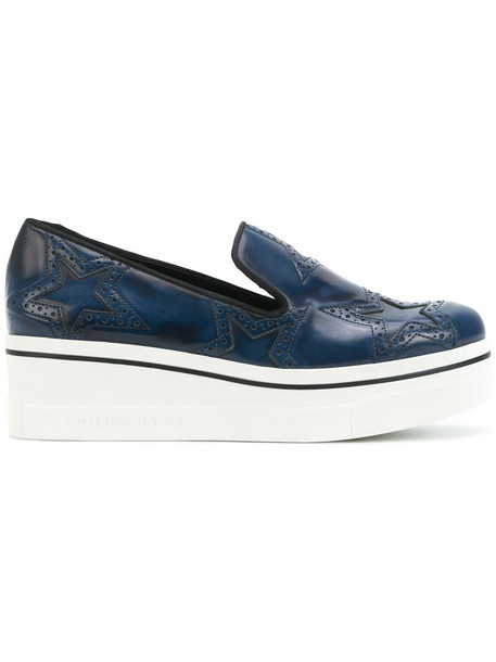 Stella McCartney women loafers leather blue shoes