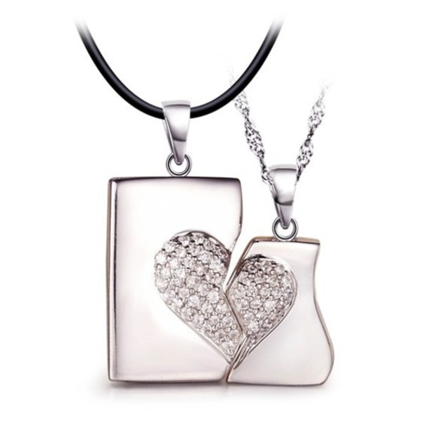 Jewels his and hers necklaces couples necklaces matching jewels his and hers necklaces couples necklaces matching pendants connecting pendants couples jewelry split heart necklaces aloadofball Choice Image