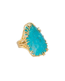 Large Branch-Bezel Ring, Turquoise