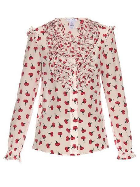 oscar de la renta blouse ruffle print silk white red top