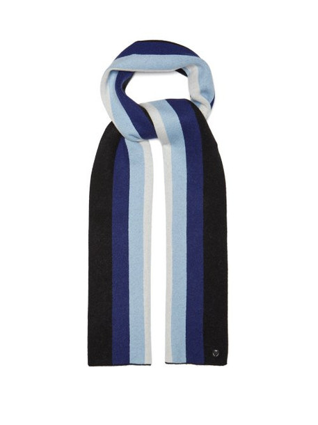 Charlotte Simone - Striped Wool And Cashmere Blend Scarf - Womens - Blue