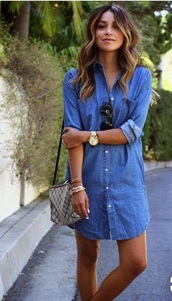 dress,denim,above the knee,casual,streetstyle,button up denim,denim dress,above the knee dress