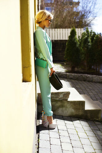 stylista shoes jewels t-shirt jacket pants bag pom pom sandals sandals sandal heels high heel sandals platform sandals blue pants aqua blazer blue blazer blue bag spring outfits