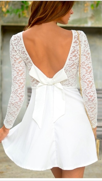 dress white lace bow girly sexy scoop neck long sleeve white backless see-through dress for women long sleeves sexy open back cute summer rose wholesale-dec