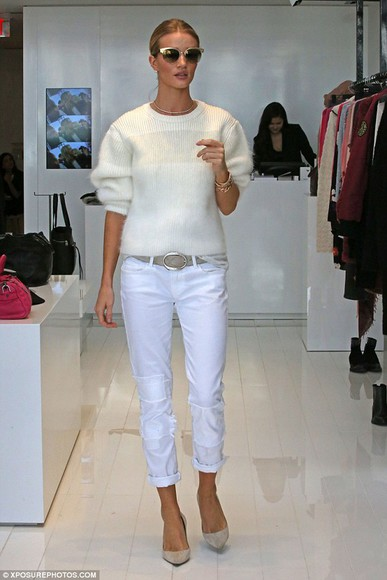 rosie huntington-whiteley pants shoes sweater