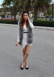 raspberry jam,blogger,white dress,asymmetrical dress,belted dress,fluffy,faux fur vest,dress,jacket,grey fur vest