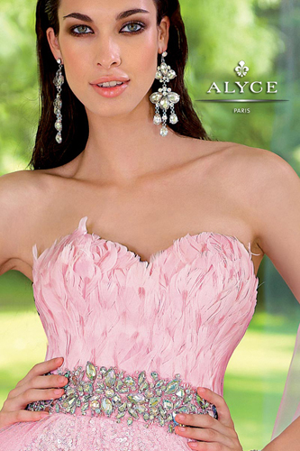 Alyce 6000 pink feather prom dress