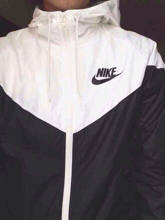 jacket coat windbreaker nike athletic black white zip black and white waterproof autumn good rain colour block raincoat blouse