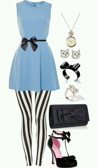 leggings alice in wonderland blue dress black accessories
