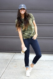 shirt,camouflage,t-shirt,pocket t-shirt,summer,pinterest,jeans,hat,baseball,blue,faded,new york city,ball cap,camo shirt,casual,top,style,trendy,military style,flowy tshirt,blouse