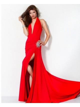 Sheath V-Neck Split Front Elastic Satin Long Red Party Dress