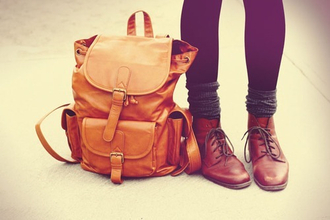 shoes bag school bag lether bag brown orange camel bag backpack vintage indie grunge autumn/winter school girl school outfit