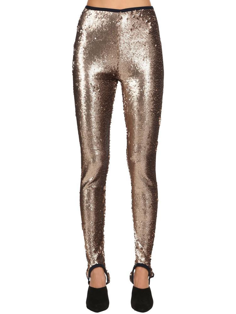 STELLA JEAN Sequined Stretch Stirrup Leggings in gold