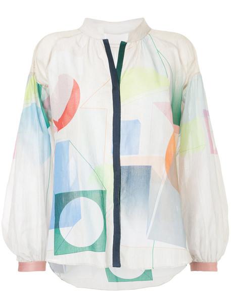 GINGER & SMART shirt women geometric cotton grey metallic top