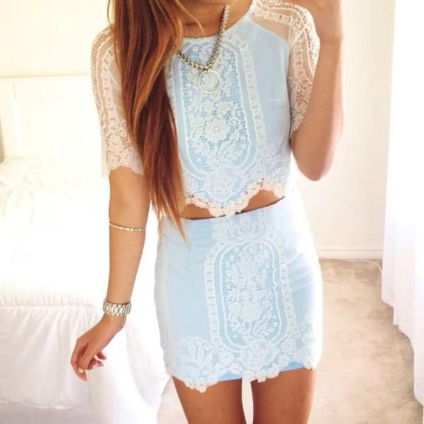 dress blue dress lace dress two-piece