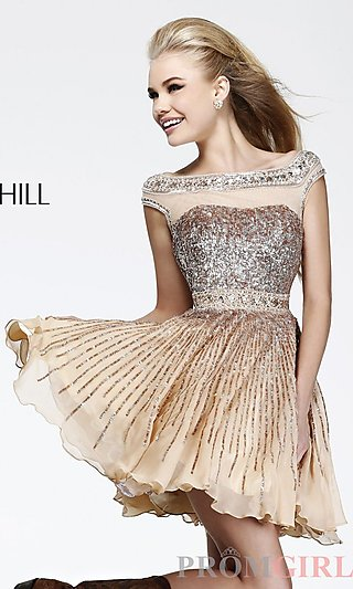 Short Sequin Dress with Cap Sleeves, High Neck Dresses- PromGirl