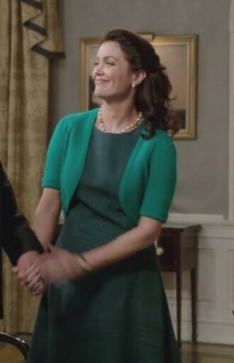 dress green textured scandal mellie grant bellamy young sleeveless cashmere oscar de la renta dress cardigan