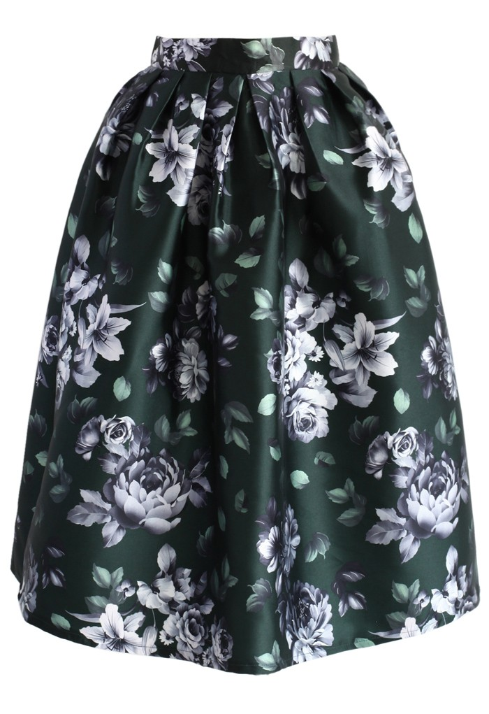 Rose Memory Pleated Midi Skirt - Retro, Indie and Unique Fashion
