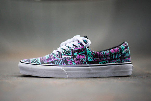 shoes vans shoe cool purple green laces