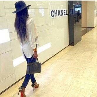 blouse whie blouse classy style elegant long sleeves bag jeans shoes hat