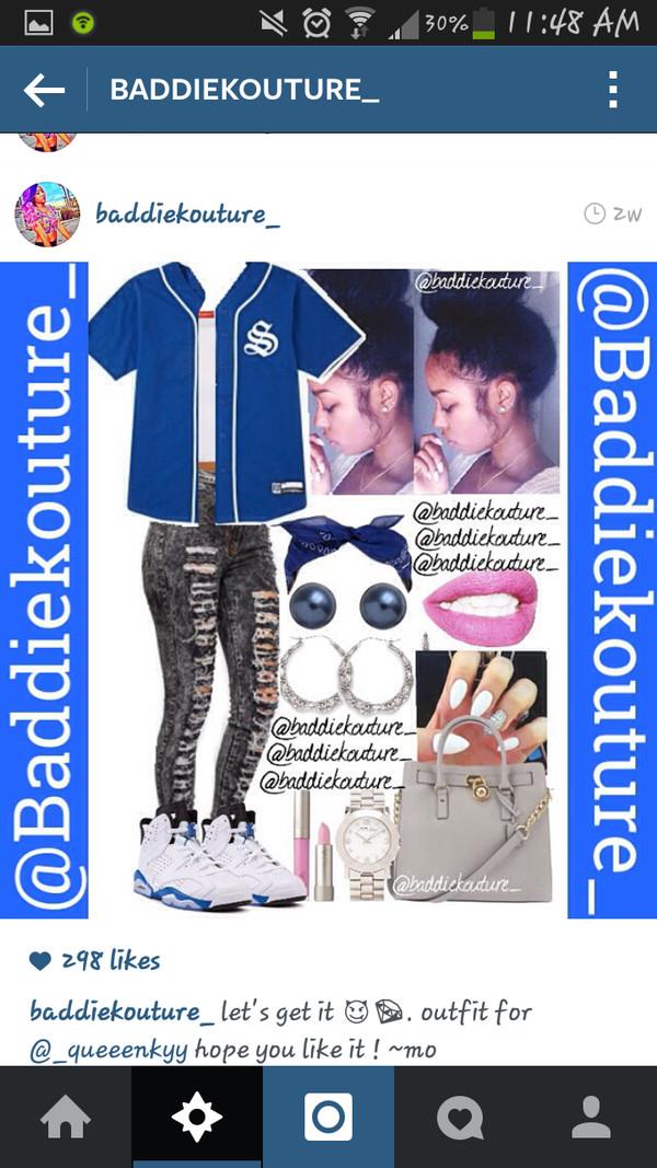 shoes blue jordans jewels jeans