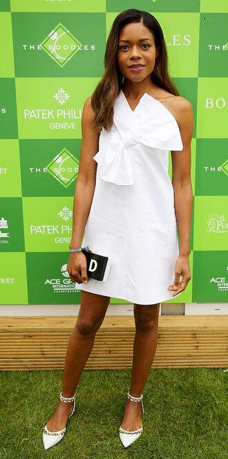 dress summer dress naomie harris summer outfits white white dress clutch bow dress