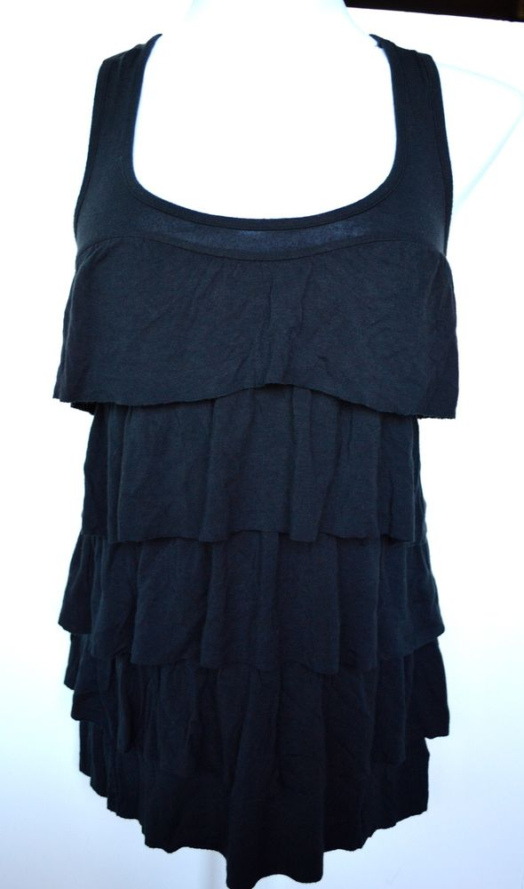 Talula aritzia black tiered layered tunic racerback tank top dress sz. xxs euc