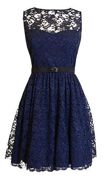 Dress: naveyblue, black, lace dress, lace, cute, cute ... Dark Blue Lace Bridesmaid Dresses