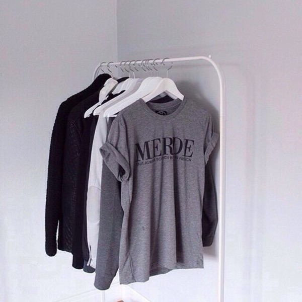 t-shirt merde shit dope top grey street goth